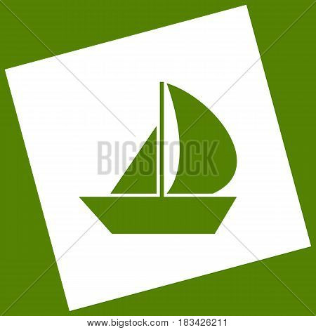 Sail Boat sign. Vector. White icon obtained as a result of subtraction rotated square and path. Avocado background.