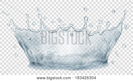 Transparent water crown. Splash of water in gray colors on transparent background. Transparency only in vector file