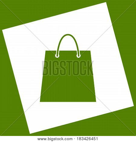 Shopping bag illustration. Vector. White icon obtained as a result of subtraction rotated square and path. Avocado background.