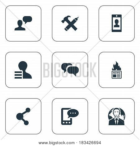 Vector Illustration Set Of Simple User Icons. Elements Gain, Repair, Profile And Other Synonyms Gain, Network And Share.