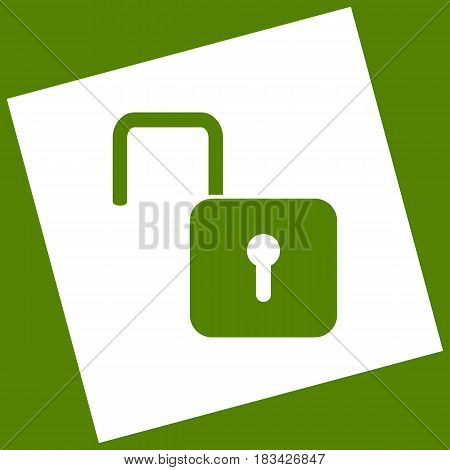 Unlock sign illustration. Vector. White icon obtained as a result of subtraction rotated square and path. Avocado background.