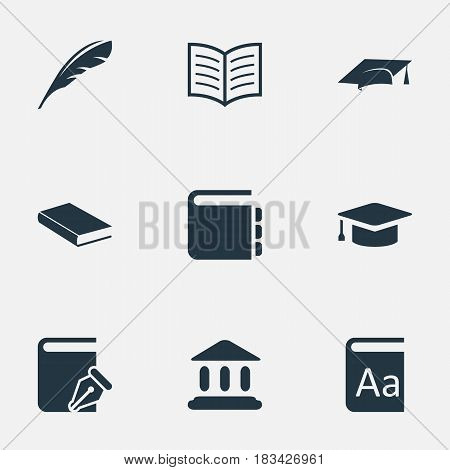 Vector Illustration Set Of Simple Education Icons. Elements Notebook, Sketchbook, Academic Cap And Other Synonyms Write, Hat And Alphabet.