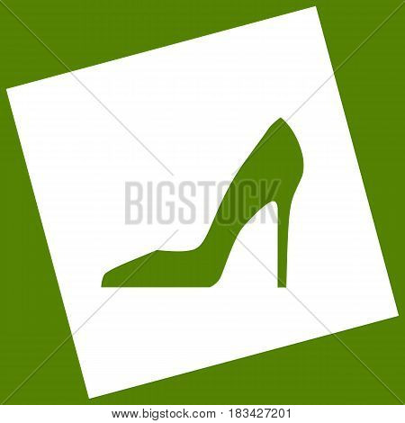 Woman shoe sign. Vector. White icon obtained as a result of subtraction rotated square and path. Avocado background.