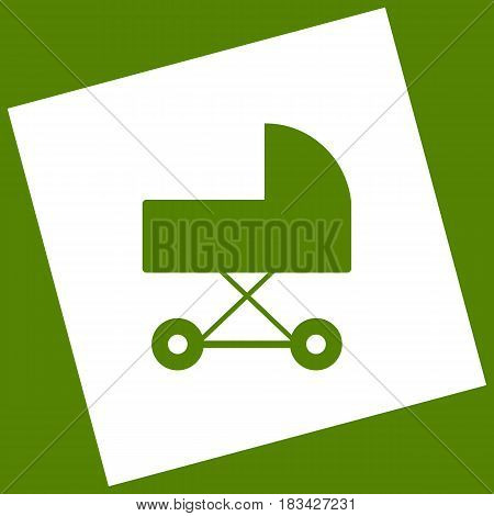 Pram sign illustration. Vector. White icon obtained as a result of subtraction rotated square and path. Avocado background.