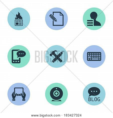 Vector Illustration Set Of Simple User Icons. Elements Gazette, Broadcast, Gain And Other Synonyms Pen, Hand And Earnings.