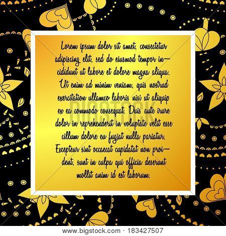 black and gold card with text vector