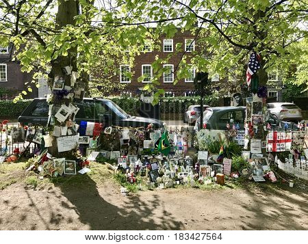 LONDON - APRIL 23, 2017: Tributes left by fans of the late George Michael outside his house in Highgate, London, UK.