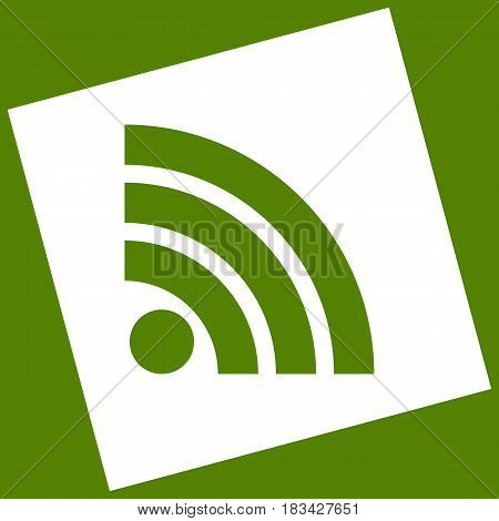 RSS sign illustration. Vector. White icon obtained as a result of subtraction rotated square and path. Avocado background.