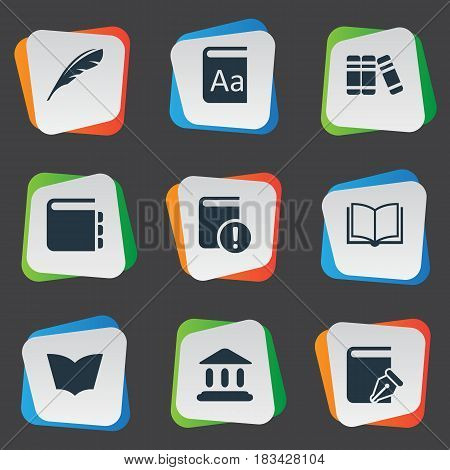 Vector Illustration Set Of Simple Education Icons. Elements Reading, Alphabet, Library And Other Synonyms Important, Dictionary And Blank.