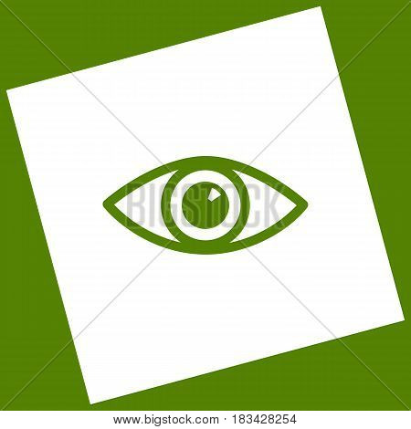 Eye sign illustration. Vector. White icon obtained as a result of subtraction rotated square and path. Avocado background.