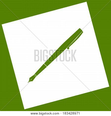 Pen sign illustration. Vector. White icon obtained as a result of subtraction rotated square and path. Avocado background.