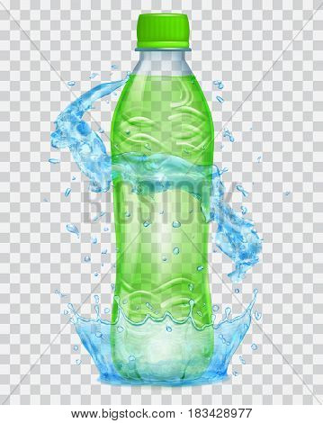 Transparent water crown and water splashes in light blue colors around a transparent plastic bottle with green cap filled with green juice. Transparency only in vector file