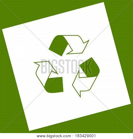 Recycle logo concept. Vector. White icon obtained as a result of subtraction rotated square and path. Avocado background.