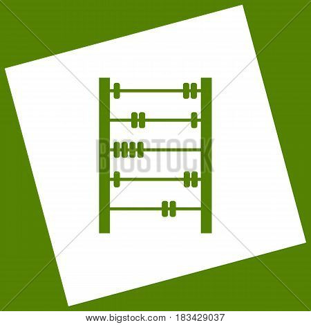 Retro abacus sign. Vector. White icon obtained as a result of subtraction rotated square and path. Avocado background.