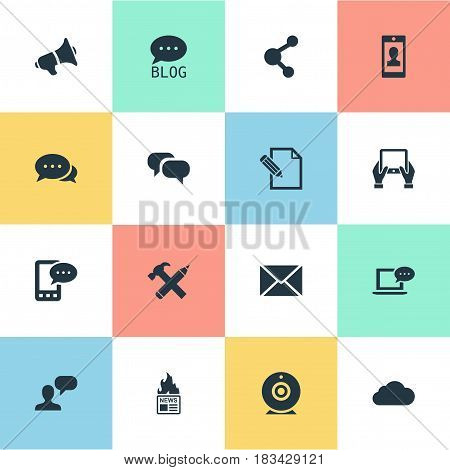 Vector Illustration Set Of Simple Newspaper Icons. Elements Document, Gazette, Man Considering And Other Synonyms Hot, Loudspeaker And Relation.