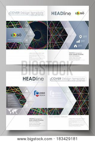 Business templates for bi fold brochure, magazine, flyer, booklet or annual report. Cover design template, easy editable vector, abstract flat layout in A4 size. Bright color lines, colorful beautiful background. Perfect decoration.