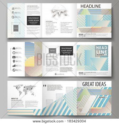 Set of business templates for tri fold square design brochures. Leaflet cover, abstract flat layout, easy editable vector. Minimalistic design with lines, geometric shapes forming beautiful background.
