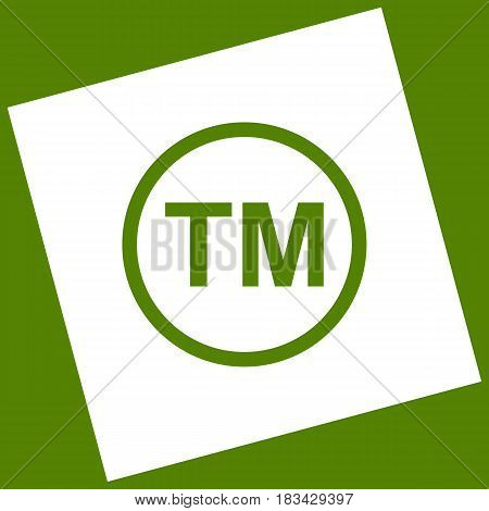 Trade mark sign. Vector. White icon obtained as a result of subtraction rotated square and path. Avocado background.