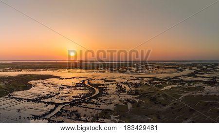 Aerial View Of Esteiro Da Tojeira At Sunset