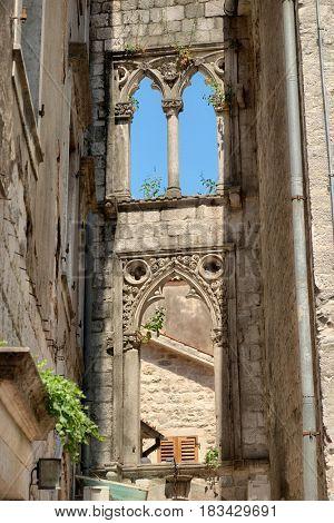 ornamental elements on venetian windows of Kotor Old Town; Montenegro