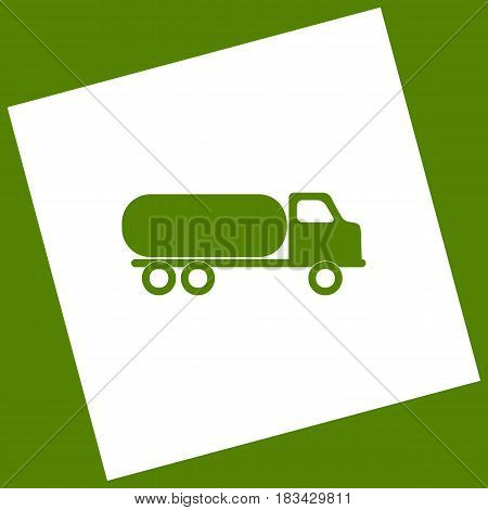 Car transports sign. Vector. White icon obtained as a result of subtraction rotated square and path. Avocado background.