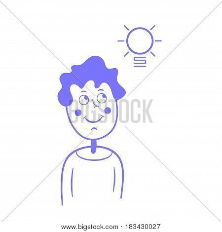 A thinking guy, an idea, a light bulb in a flat style