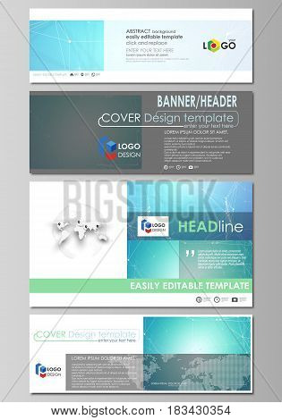 Social media and email headers set, modern banners. Business templates. Easy editable abstract design template, vector layouts in popular sizes. Chemistry pattern, connecting lines and dots, molecule structure, medical DNA research. Medicine concept.