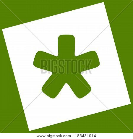 Asterisk star sign. Vector. White icon obtained as a result of subtraction rotated square and path. Avocado background.