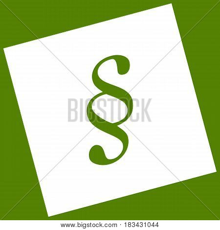 Paragraph sign illustration. Vector. White icon obtained as a result of subtraction rotated square and path. Avocado background.
