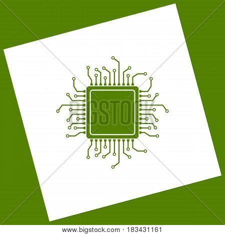CPU Microprocessor illustration. Vector. White icon obtained as a result of subtraction rotated square and path. Avocado background.