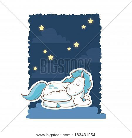 sleeping cute unicorn night background poster vector illustration