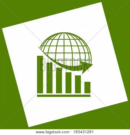 Declining graph with earth. Vector. White icon obtained as a result of subtraction rotated square and path. Avocado background.