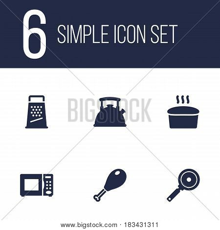 Set Of 6 Kitchen Icons Set.Collection Of Poultry Foot, Kitchen Rasp, Teapot And Other Elements.