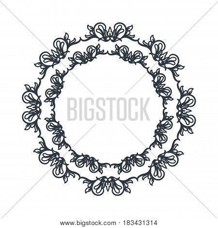 florishes crown decoration ornament outline vector illustration