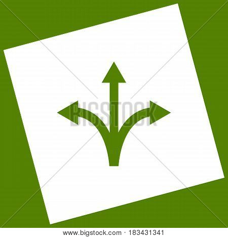 Three-way direction arrow sign. Vector. White icon obtained as a result of subtraction rotated square and path. Avocado background.