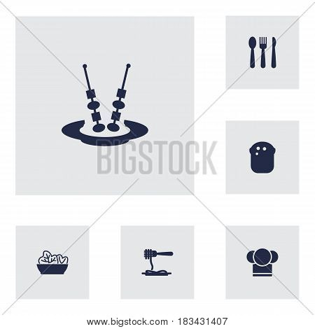 Set Of 6 Restaurant Icons Set.Collection Of Chef, Silverware, Food And Other Elements.