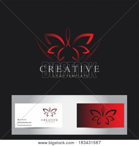 Abstract beauty lotus flower logo design isolated on black