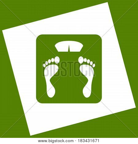Bathroom scale sign. Vector. White icon obtained as a result of subtraction rotated square and path. Avocado background.