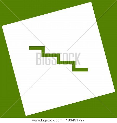Stair down sign. Vector. White icon obtained as a result of subtraction rotated square and path. Avocado background.