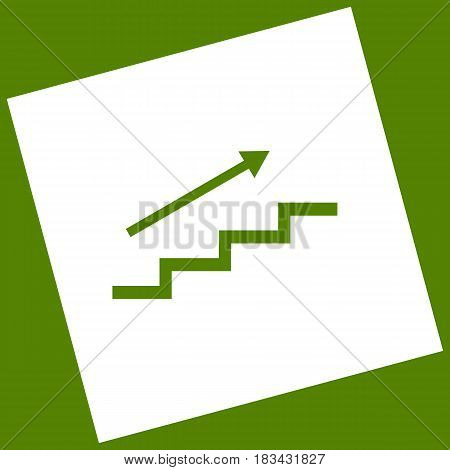 Stair with arrow. Vector. White icon obtained as a result of subtraction rotated square and path. Avocado background.