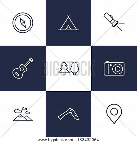 Set Of 9 Camping Outline Icons Set.Collection Of Penknife, Forest, Place Pointer And Other Elements.