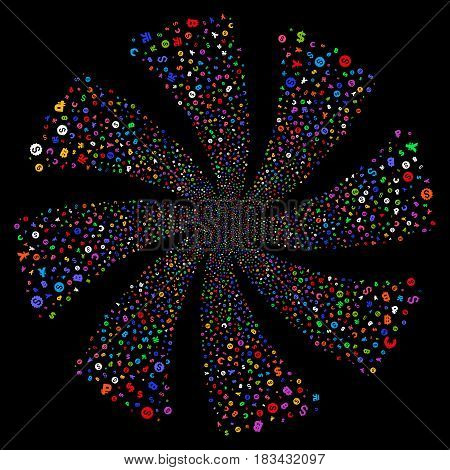 Currency Symbols fireworks swirl rotation. Vector illustration style is flat bright multicolored iconic symbols on a black background. Object whirlpool constructed from random icons.