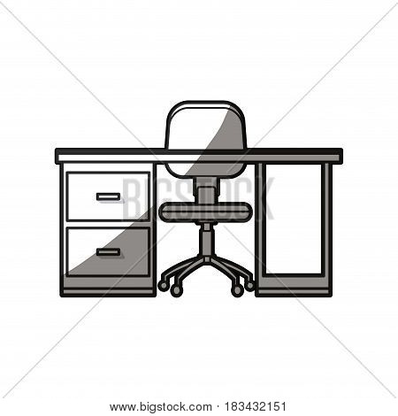 desk chair workspace furniture wheel shadow line vecto illustration