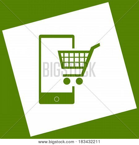 Shopping on smart phone sign. Vector. White icon obtained as a result of subtraction rotated square and path. Avocado background.