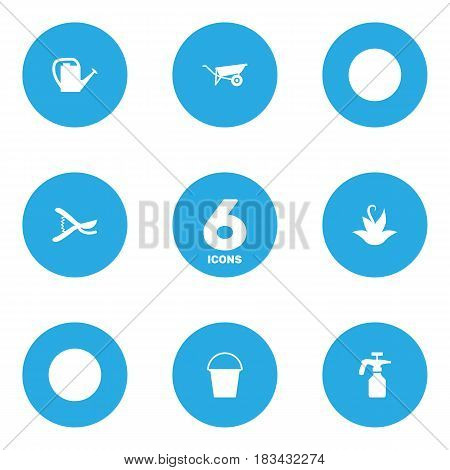 Set Of 6 Farm Icons Set.Collection Of Wheelbarrow, Plant, Spray Bootle And Other Elements.