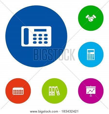 Set Of 6 Bureau Icons Set.Collection Of File Folder, Calendar, Presentation And Other Elements.