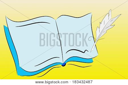 Notepad and pen on pseudo gradient yellow background.
