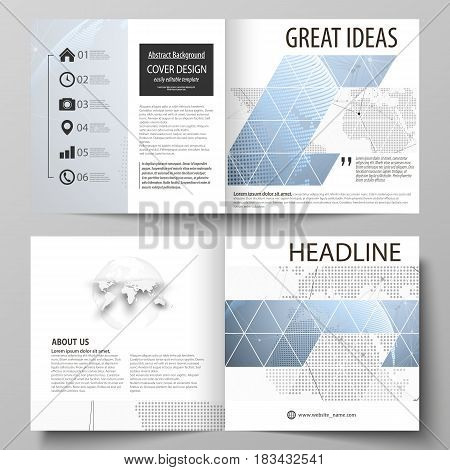 The vector illustration of the editable layout of two covers templates for square design bi fold brochure, magazine, flyer, booklet. World globe on blue. Global network connections, lines and dots
