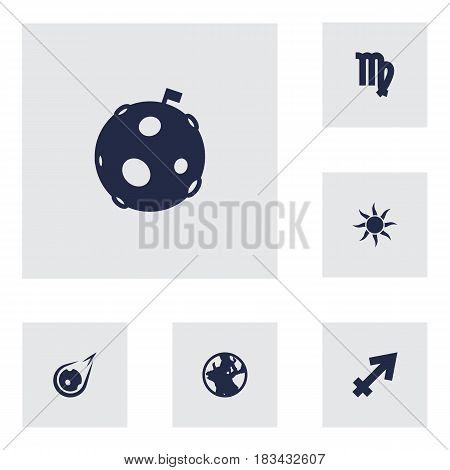Set Of 6 Galaxy Icons Set.Collection Of Earth Planet, Lunar, Virgin And Other Elements.