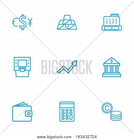 Set Of 9 Budget Outline Icons Set.Collection Of Grow Up, Cash Register, Atm And Other Elements.